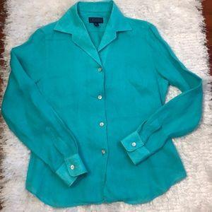 J. McLaughlin turquoise linen button down